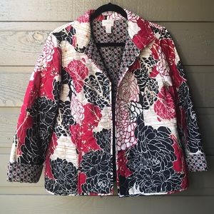 Chico's quilted floral jacket